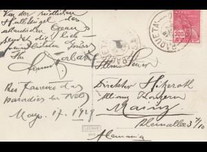 Brasil: post card Rio de Janeiro 1919, Paqueta to Mainz/Germany