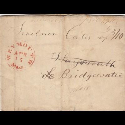 USA: 1848: Weymouth/Mass to Bridgwater/Mass with text