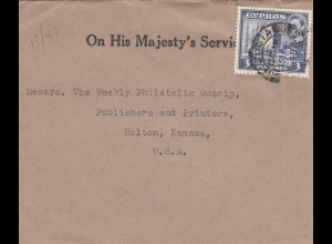 Cyprus: 1948: On his Majesty's Service to Holton/Kansas/USA