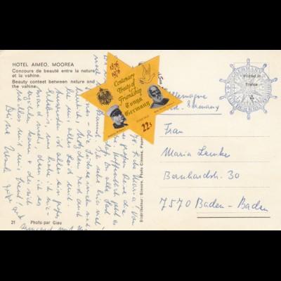 Moorea, Hotel Aimeo, post card to Germany-Baden-Baden, 1976 Tonga