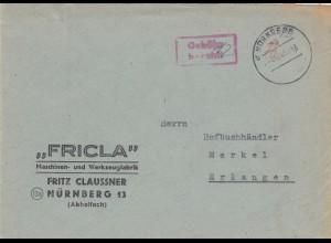 Brief Nürnberg 1945, Gebühr bezahlt nach Erlangen