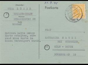 BiZone: Postkarte 1945 von Brilon-Stadt nach Köln-Brück