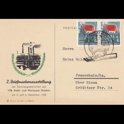 DDR: 1953 Gröditz nach Frauenhain/Sa über Riesa
