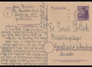 Berlin 1946 Ganzsache nach Geesthacht
