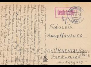 1946: Ansichtskarte Gemünden Gebühr bezahlt nach Hohental/Winklarn/Nabburg/Pfalz