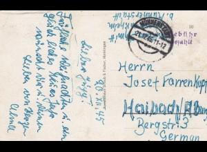 1946: Ansichtskarte Münnerstadt, Bad Neustadt/S, Gebühr bezahlt, nach Haibach