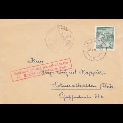 DDR 1955: Meiningen nach Schmalkalden, Postkutsche Erfuft/Meiningen