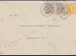 Brief aus Hude/Oldenburg nach Oldenburg 1945, Marke beschädigt