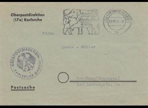 3x Postsache Karlsruhe nach Freiburg 1956, Elefant, Zoo