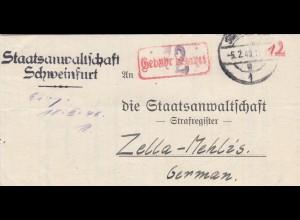 Staatsanswaltschaft Schweinfurt - Strafregister Zella-Mehlis Gebühr bezahlt 1946