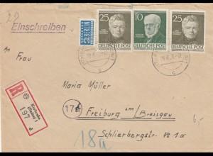 Berlin: Einschreiben aus Karlsruhe nach Freibug 1954