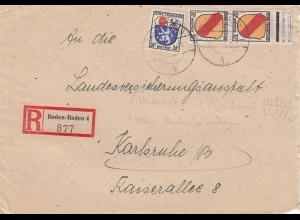 1947: Einschreiben Baden-Baden nach Karlsruhe