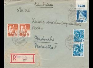 1948: Einschreiben Immendingen nach Karlsruhe