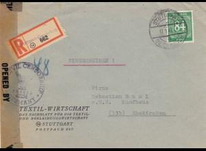 1947: Einschreiben Stuttgart-Degerloch nach Ehekirchen, Zensur, Textilwirtschaft
