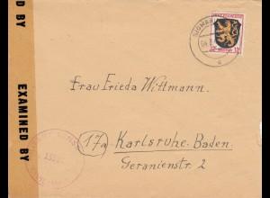 1946: Brief von Sigmaringen nach Karlsruhe, Zensur