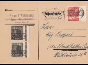 1948: Postkarte Essen nach Schmalkalden