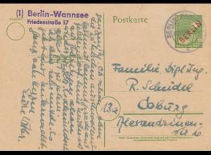 1949: Ganzsache Berlin- Wannsee nach Coburg, P3