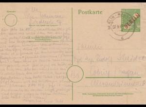 1948: Ganzsache Berlin- Wannsee nach Coburg, P3