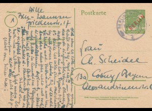 1948: Ganzsache Berlin- Wannsee nach Coburg, P3, links Eckbug
