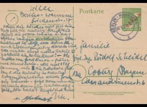1950: Ganzsache Berlin- Wannsee nach Coburg, P3
