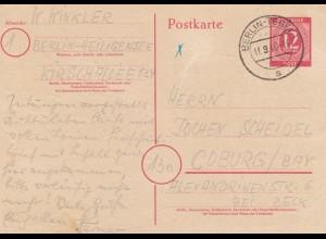 1946: Ganzsache Berlin-Heiligensee/Tegel nach Coburg