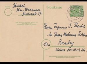 Ganzsache Berlin-Wannsee 1952 nach Bamberg