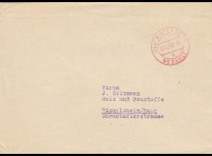 Brief aus Miltenberg 1952 nach Rüsselsheim, Gebühr bezahlt
