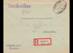 Brief aus Konstanz 1947 als Einschreiben nach Karlsruhe, Gebühr bezahlt