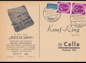 Bund: Postkarte 1953 von Lehmbach, Post Hoffnungsthal nach Celle