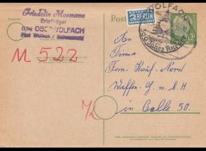 Bund: Ganzsache 1954 von Oberwolfach nach Celle, Bahnpoststempel/Sonderstempel