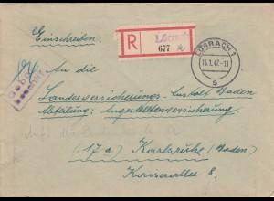 Einschreiben Lörrach, Gebühr bezahlt nach Karlsruhe 1947