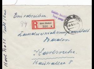 Einschreiben Bühl 1946, Gebühr bezahlt nach Karlsruhe