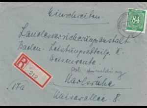 Einschreiben Obrigheim 1947 nach Karlsruhe