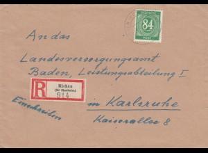 Einschreiben Richen/Sinnsheim 1947 nach Karlsruhe