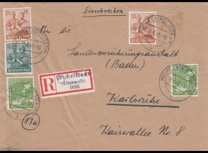 Einschreiben Michelstadt/Odenwald 1948 nach Karlsruhe