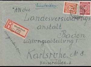 Einschreiben Oberdielbach/Baden 1947 nach Karlsruhe