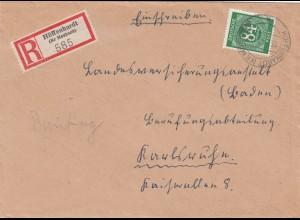 Einschreiben Hüffenhardt/Mosbach 1947 nach Karlsruhe