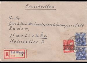 Einschreiben Bad Wimpfen 1948 nach Karlsruhe