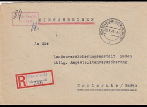 Einschreiben Neustadt/Schwarzwald 1946, Gebühr bezahlt, nach Karlsruhe