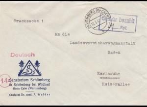 Einschreiben Schömberg bei Wildbad/Calw, 1947, Gebühr bezahlt, nach Karlsruhe