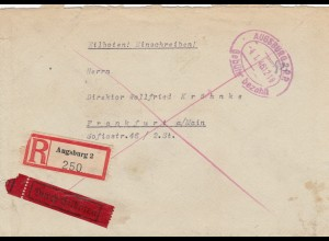 Einschreiben Eilbote Gersthofen Augsburg 1946, Gebühr bezahlt, nach Frankfurt/M