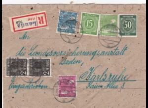 Einschreiben Lauda nach Karlsruhe 1948