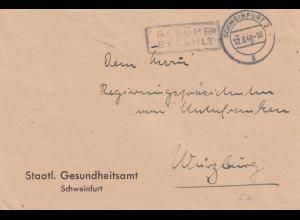 Brief 1946 von Schweinfurt, Gebühr bezahlt nach Würzburg