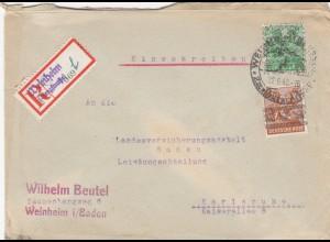 Einschreiben Weinheim/Bergstraße nach Karlsruhe 1948