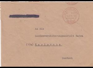 Brief St. Wendel, Gebühr bezahlt 1946 nach Karlsruhe