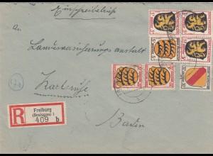 Einschreiben Freiburg 1948 nach Karlsruhe