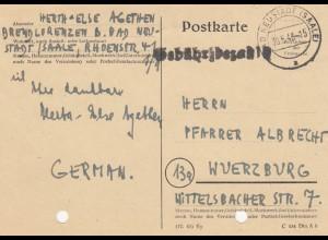 Postkarte Neustadt/Saale, Gebühr bezahlt 1948 nach Würzburg