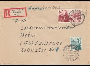 Einschreiben Freiburg-Haslach 1948 nach Karlsruhe