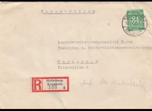 Einschreiben Heidelberg-Kirchheim 1947 nach Karlsruhe