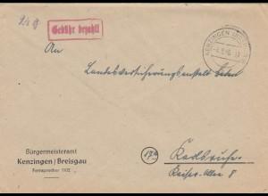 Brief 1946 von Kenzingen/Breisgau, Gebühr bezahlt, nach Karlsruhe